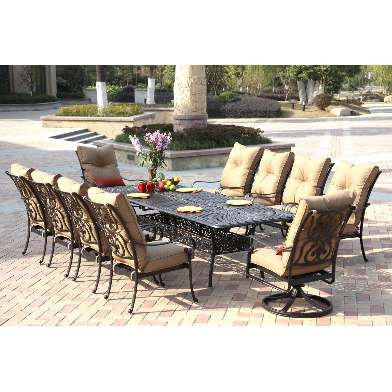 Darlee Santa Anita 11 Piece Cast Aluminum Patio Dining Set ...