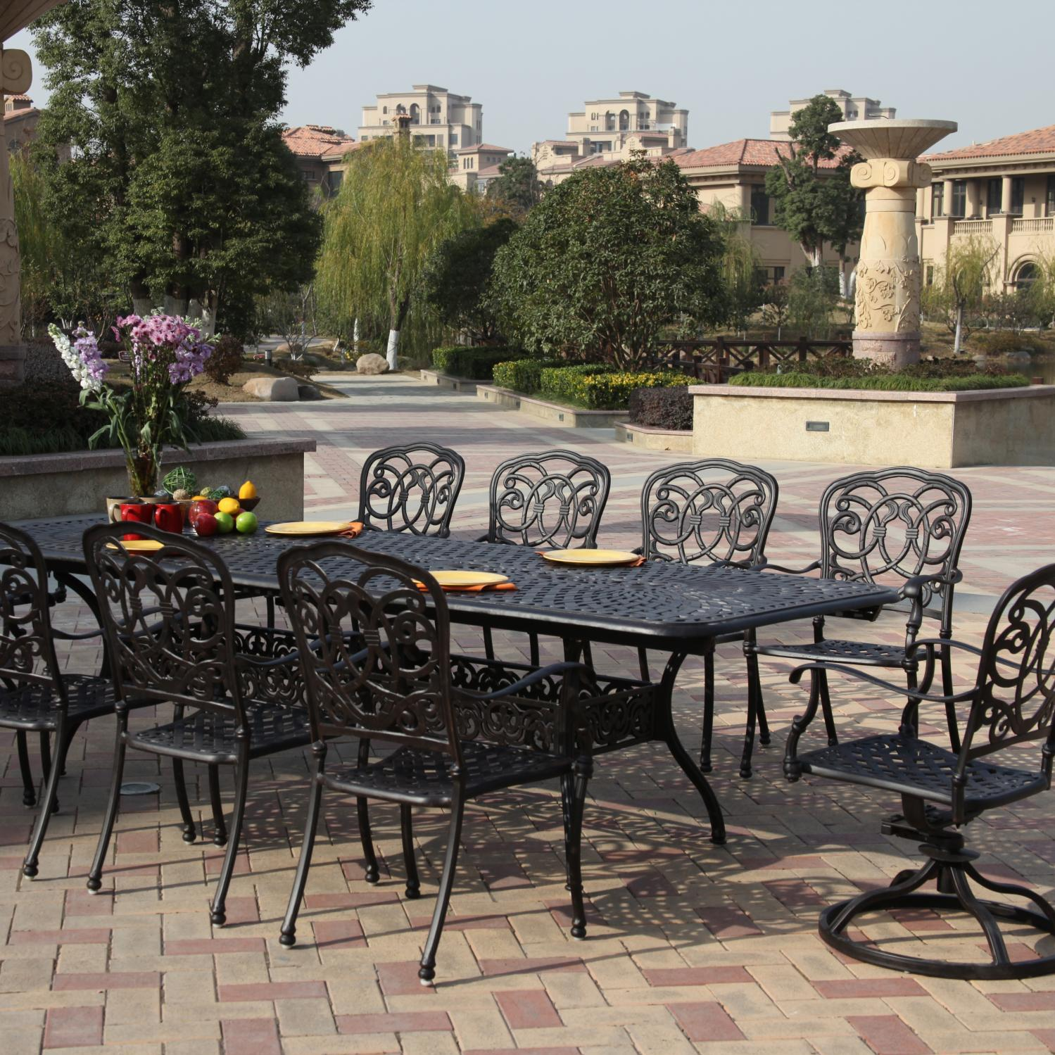 Bon Darlee Florence 11 Piece Cast Aluminum Patio Dining Set