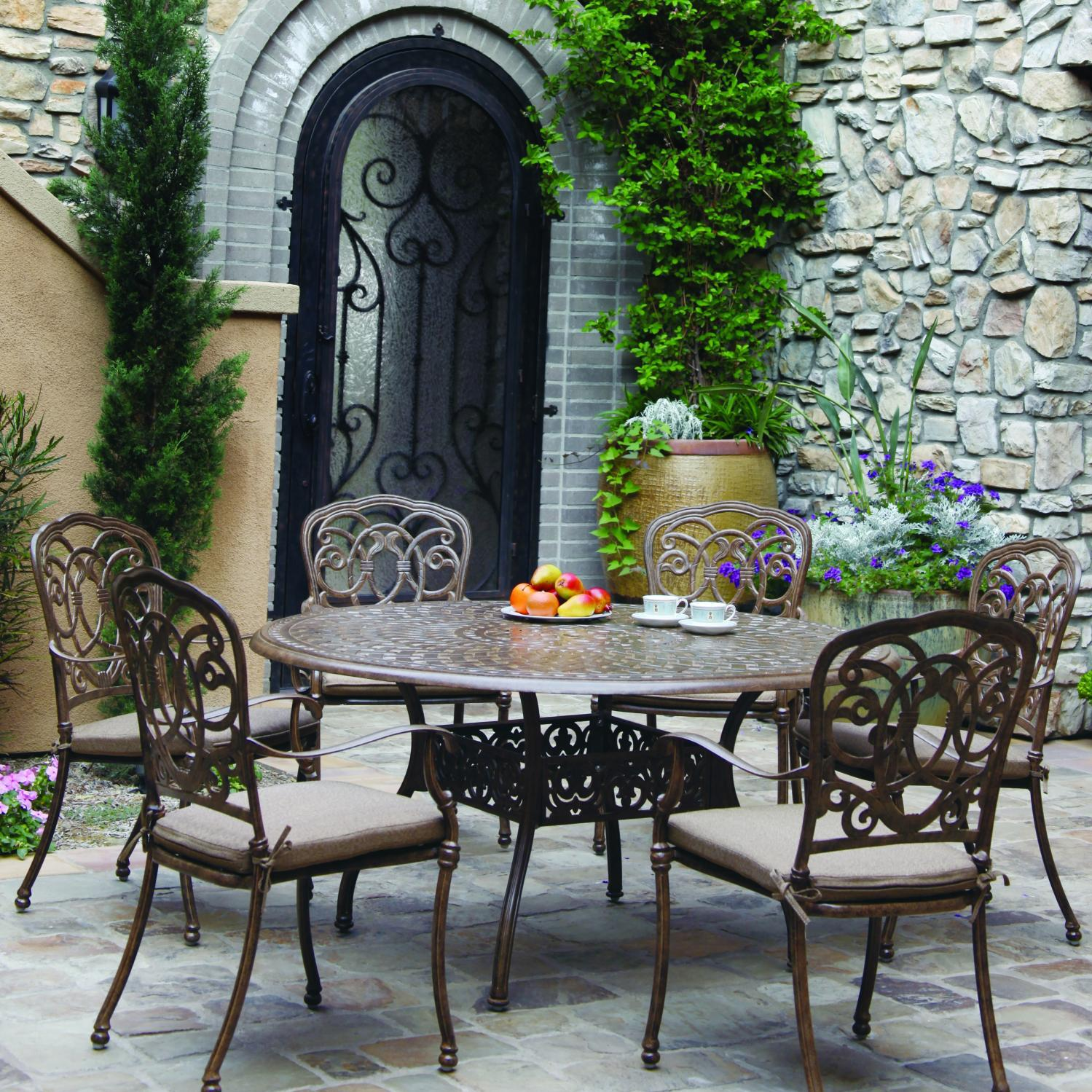 Darlee Florence 7 Piece Cast Aluminum Patio Dining Set