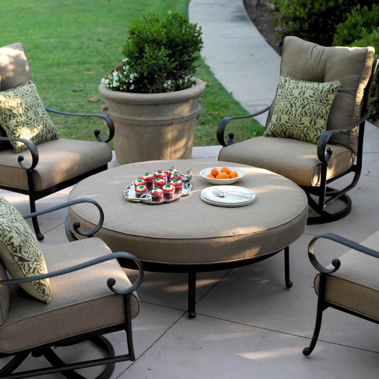 Darlee Santa Anita 5 Piece Aluminum Large Ottoman Patio Set