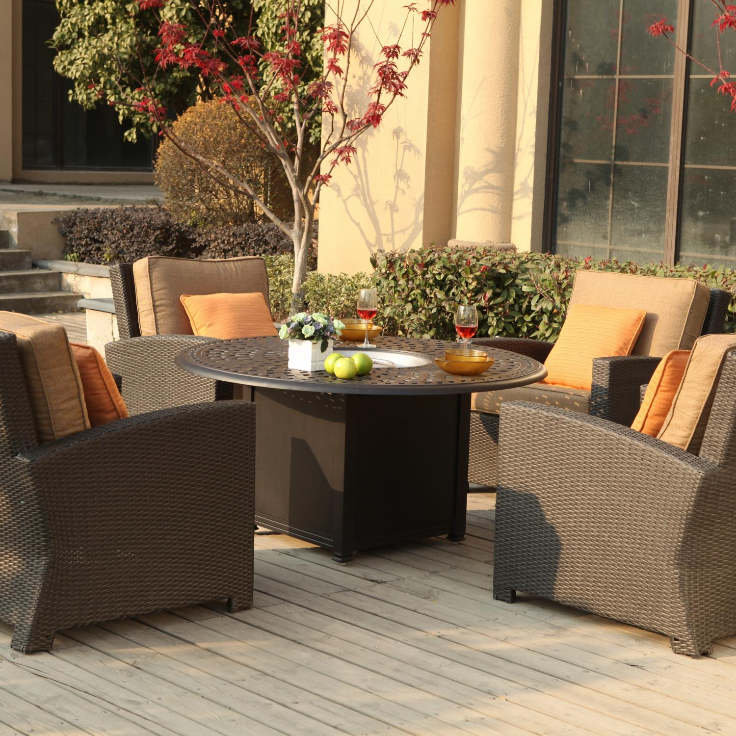 Darlee Vienna 5 Piece Resin Wicker Fire Pit Patio Set