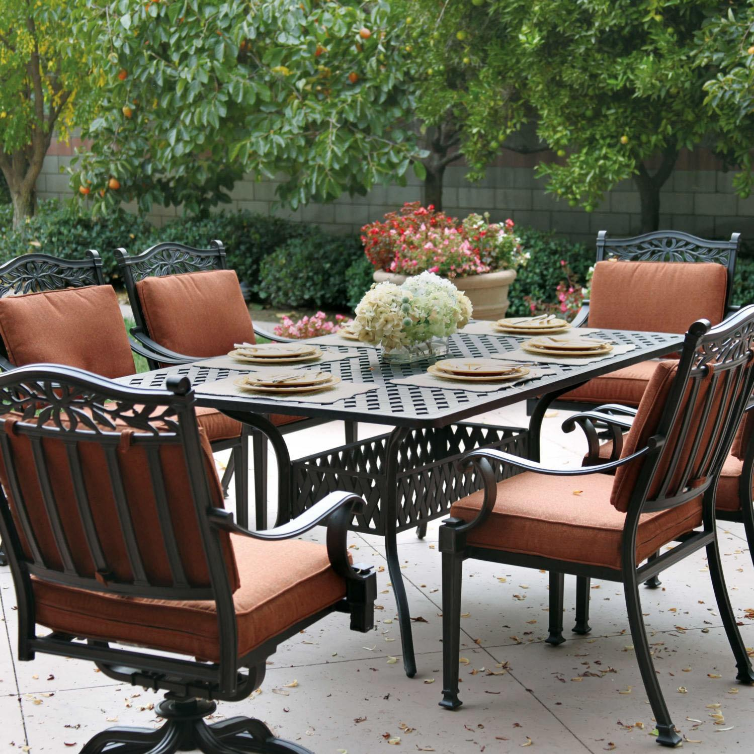 Darlee Charleston 7 Piece Cast Aluminum Patio Dining Set