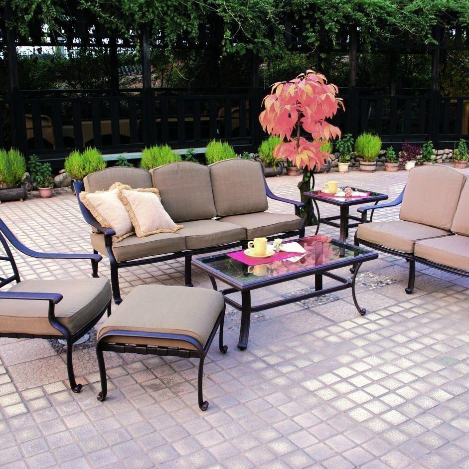 Darlee Ten Star 6 Piece Aluminum Patio Conversation Seating Set