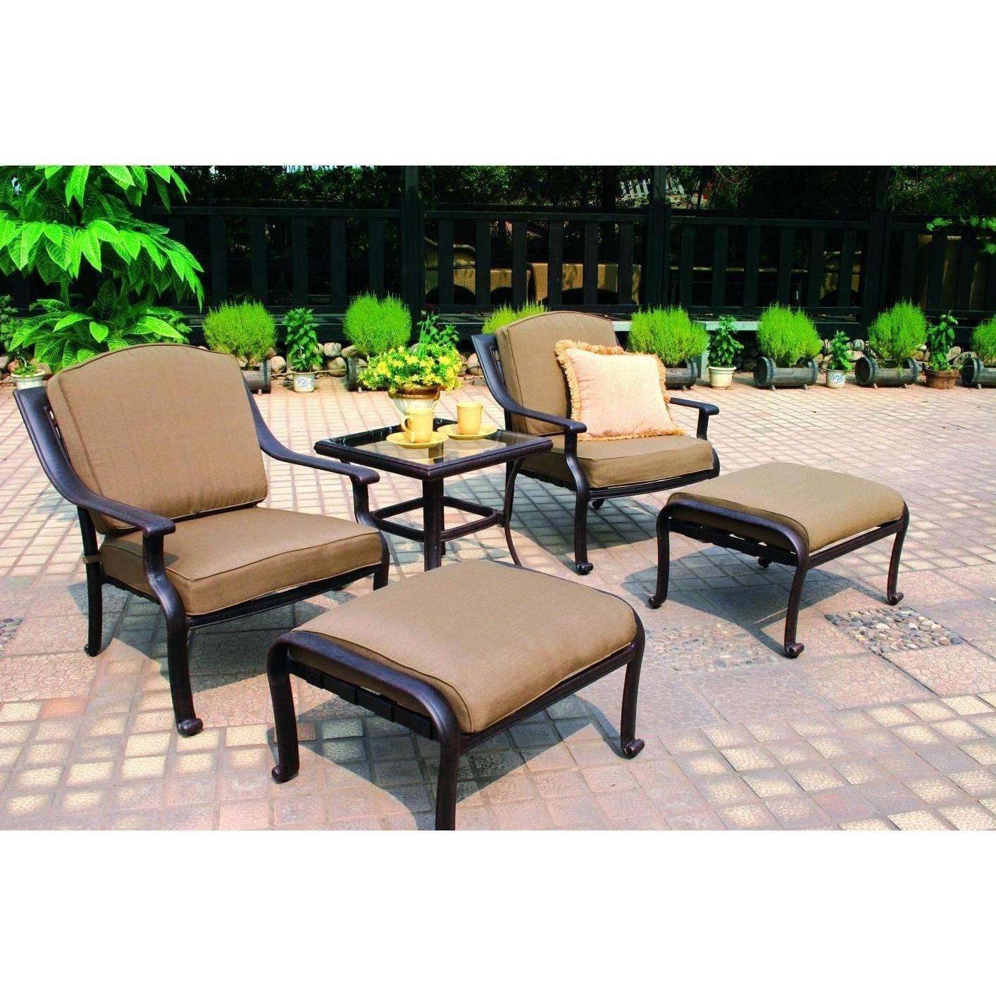 Darlee Ten Star 5 Piece Aluminum Patio Conversation Seating Set