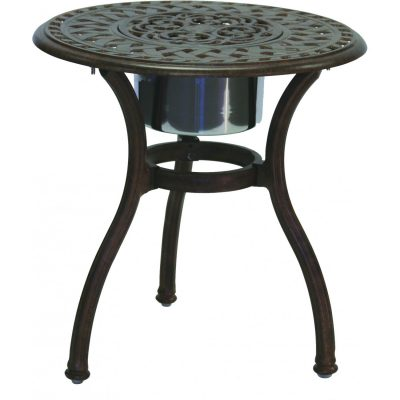 Darlee Series 60 Patio End Table With Ice Bucket Insert - Antique Bronze