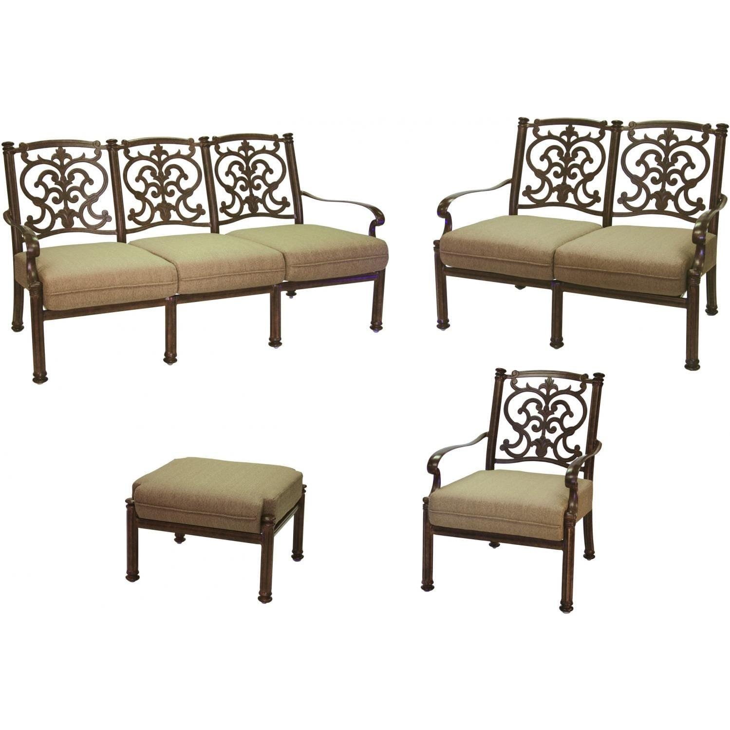 Darlee Santa Barbara 4 Piece Aluminum Conversation Seating Set