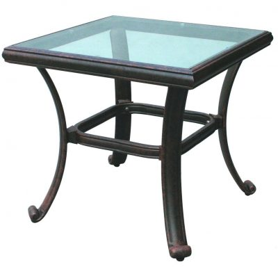 Darlee Classic Cast Aluminum Patio End Table With Glass Top