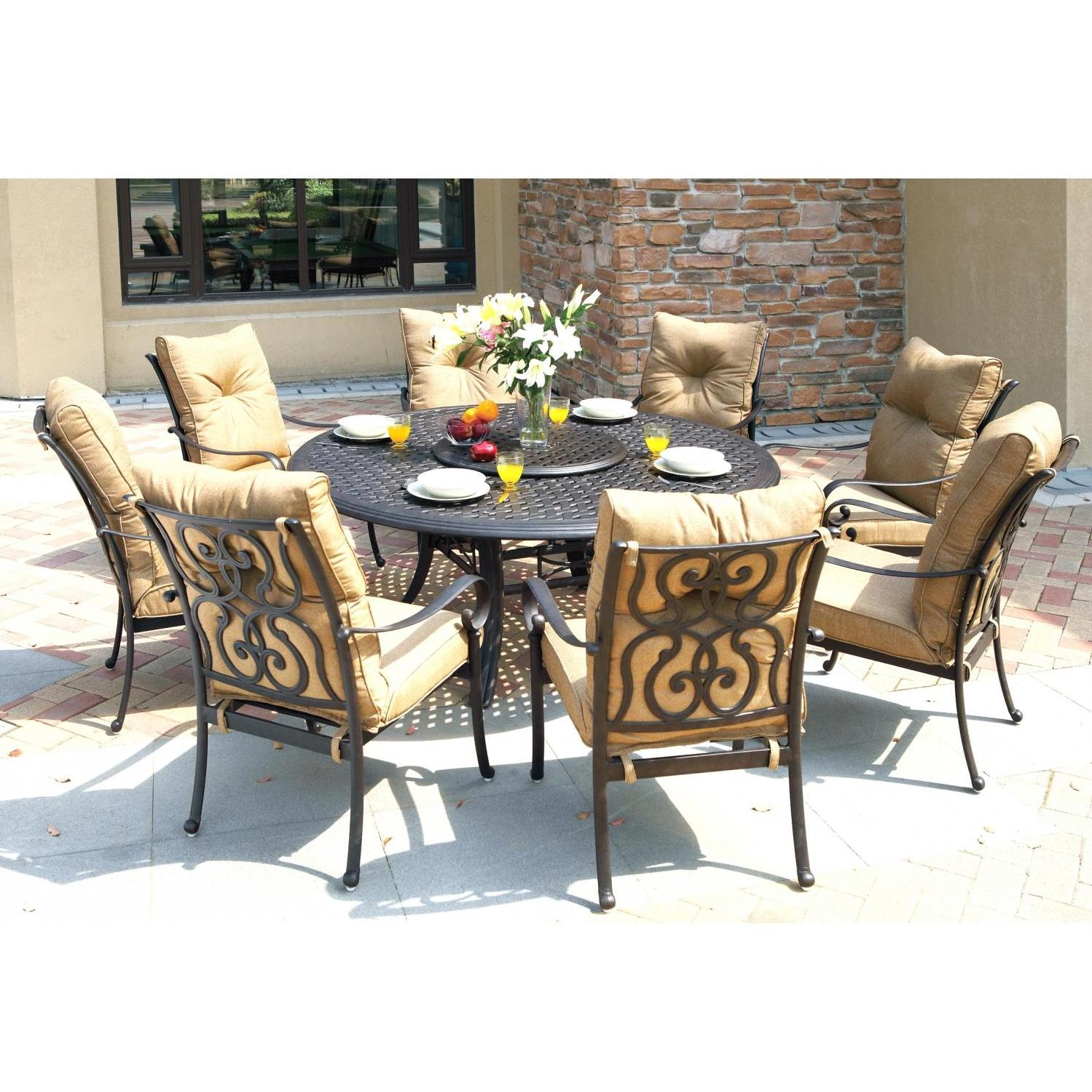 Darlee Santa Anita 9 Piece Cast Aluminum Patio Dining Set With Lazy Susan