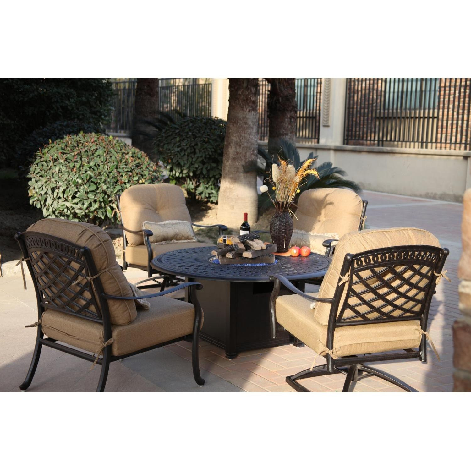 Darlee Sedona 5 Piece Cast Aluminum Patio Fire Pit Seating Set