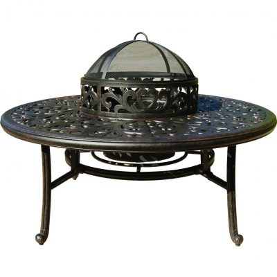 Darlee Series 80 Cast Aluminum Tea Table With Ice Bucket And Fire Pit Insert - Antique Bronze