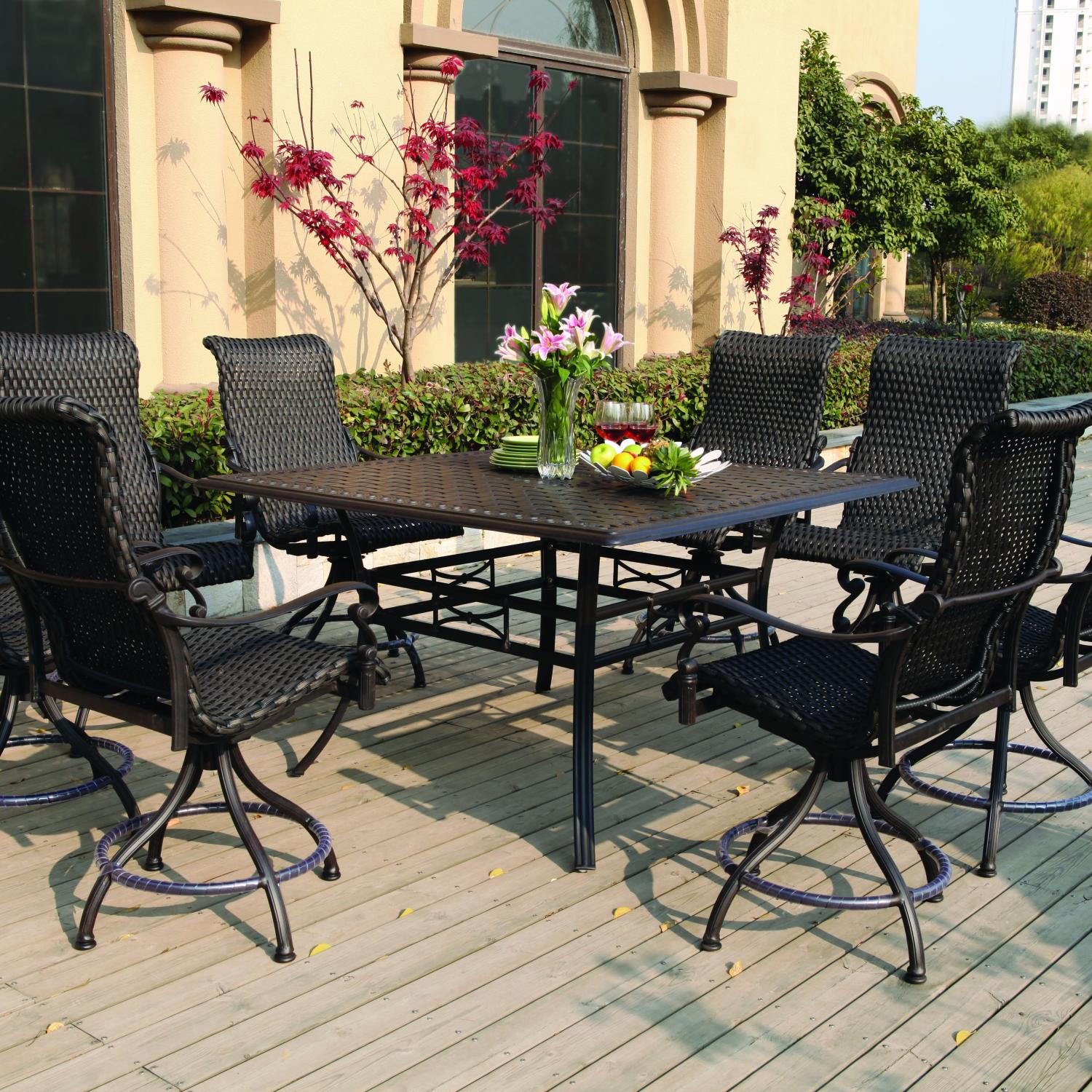 Darlee Victoria 9 Piece Resin Wicker Counter Height Dining Set