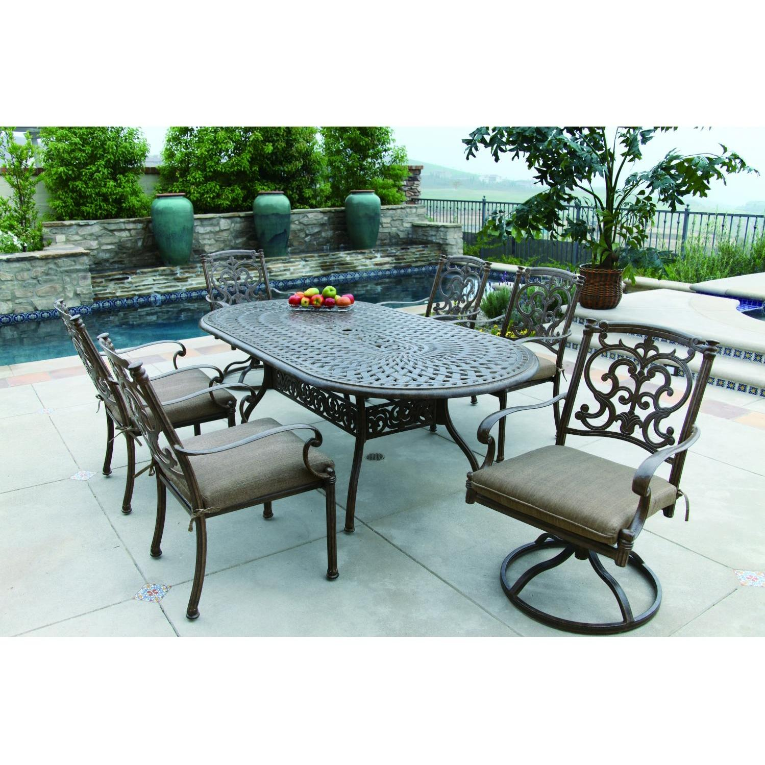Darlee santa barbara 7 piece cast aluminum patio dining set for Outdoor dining sets for 12