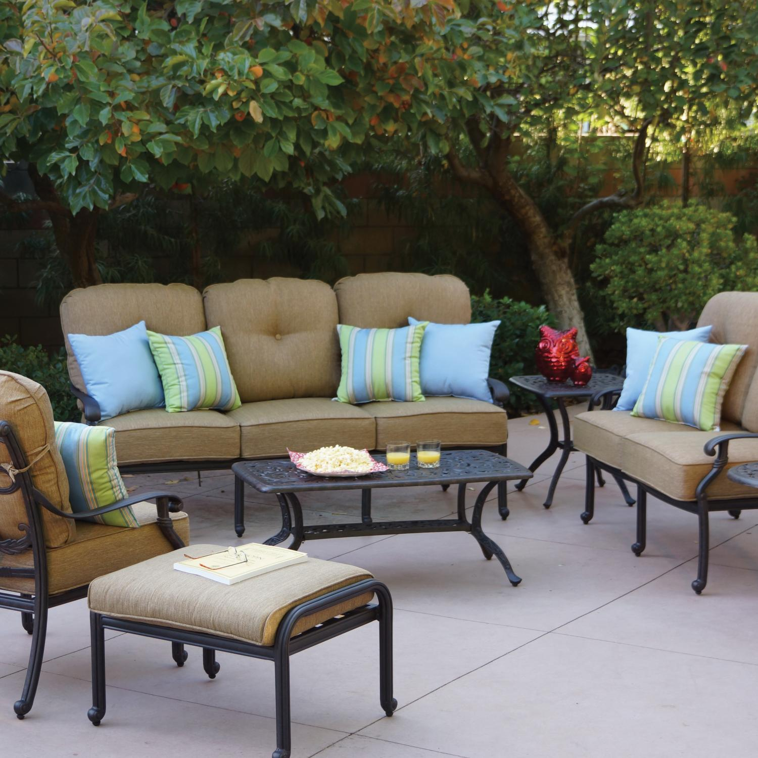 Darlee Santa Monica 7 Piece Aluminum Conversation Seating Set