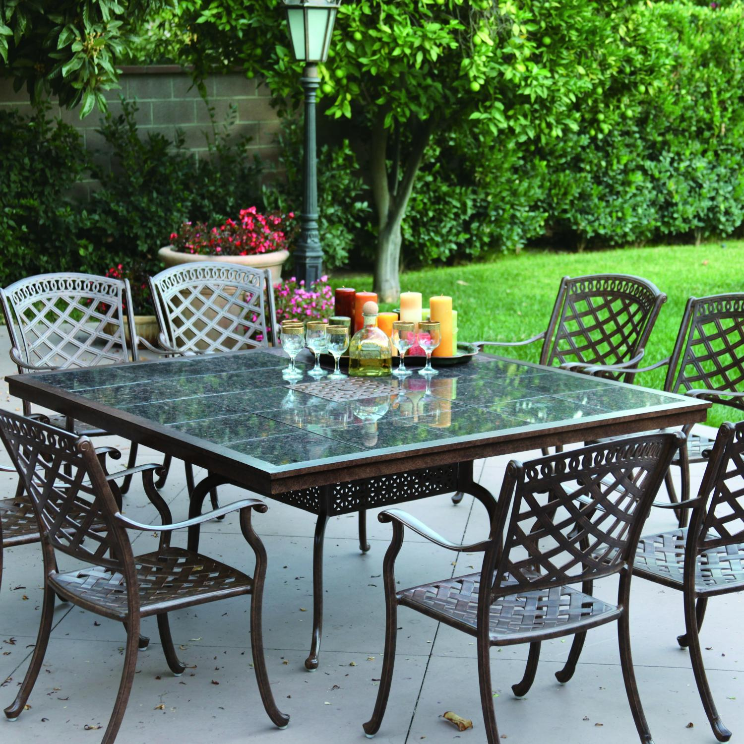 set aluminum antique darlee top dining with classic w inch bronze series cast glass table patio item x