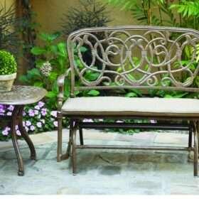 Darlee Florence 2 Piece Cast Aluminum Patio Bench Glider Conversation Seating Set Antique Bronze