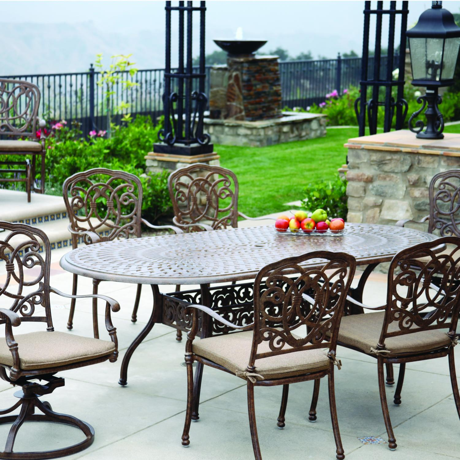 Darlee Florence 7 Piece Cast Aluminum Patio Dining Set Mocha