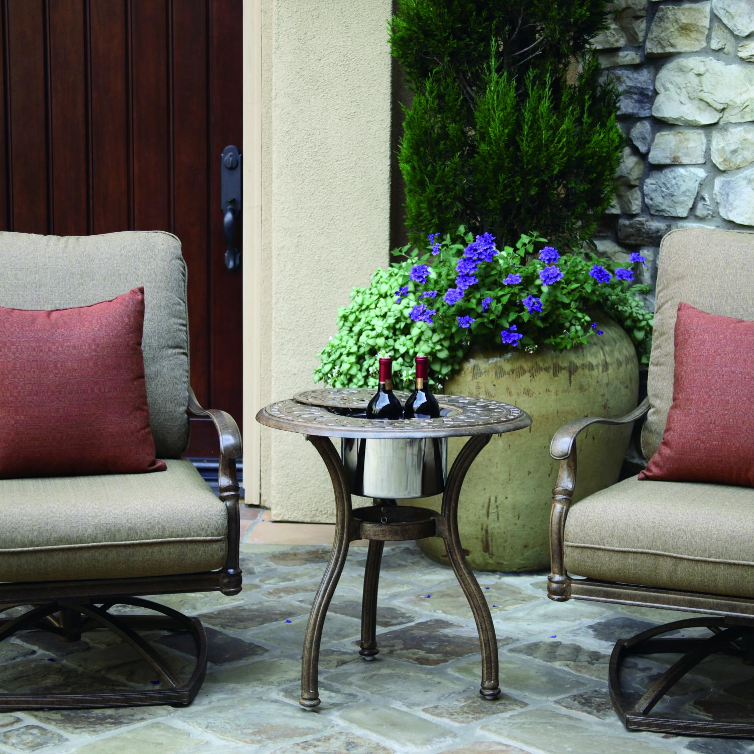 Darlee Florence 3 Piece Cast Aluminum Conversation Seating Set