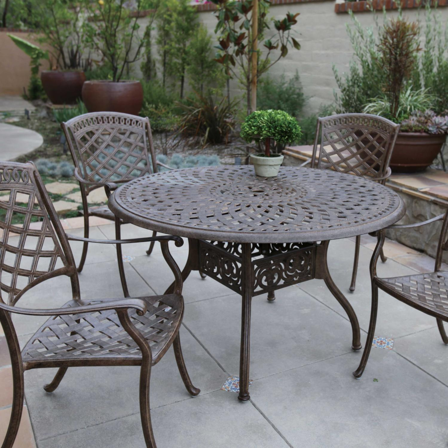 Darlee Sedona 5 Piece Cast Aluminum Patio Dining Set Mocha