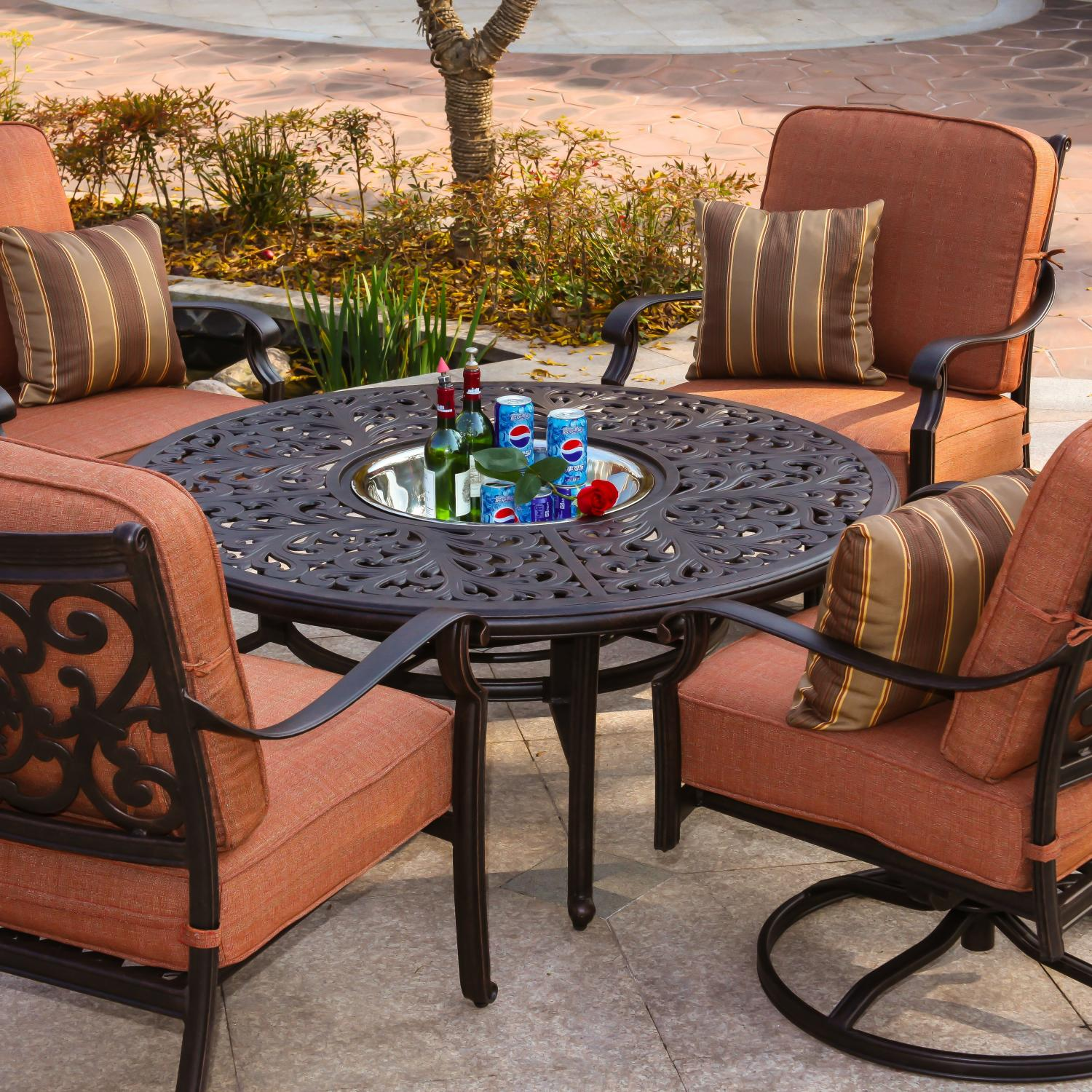 Darlee St Cruz 5 Piece Aluminum Patio Conversation Seating Set