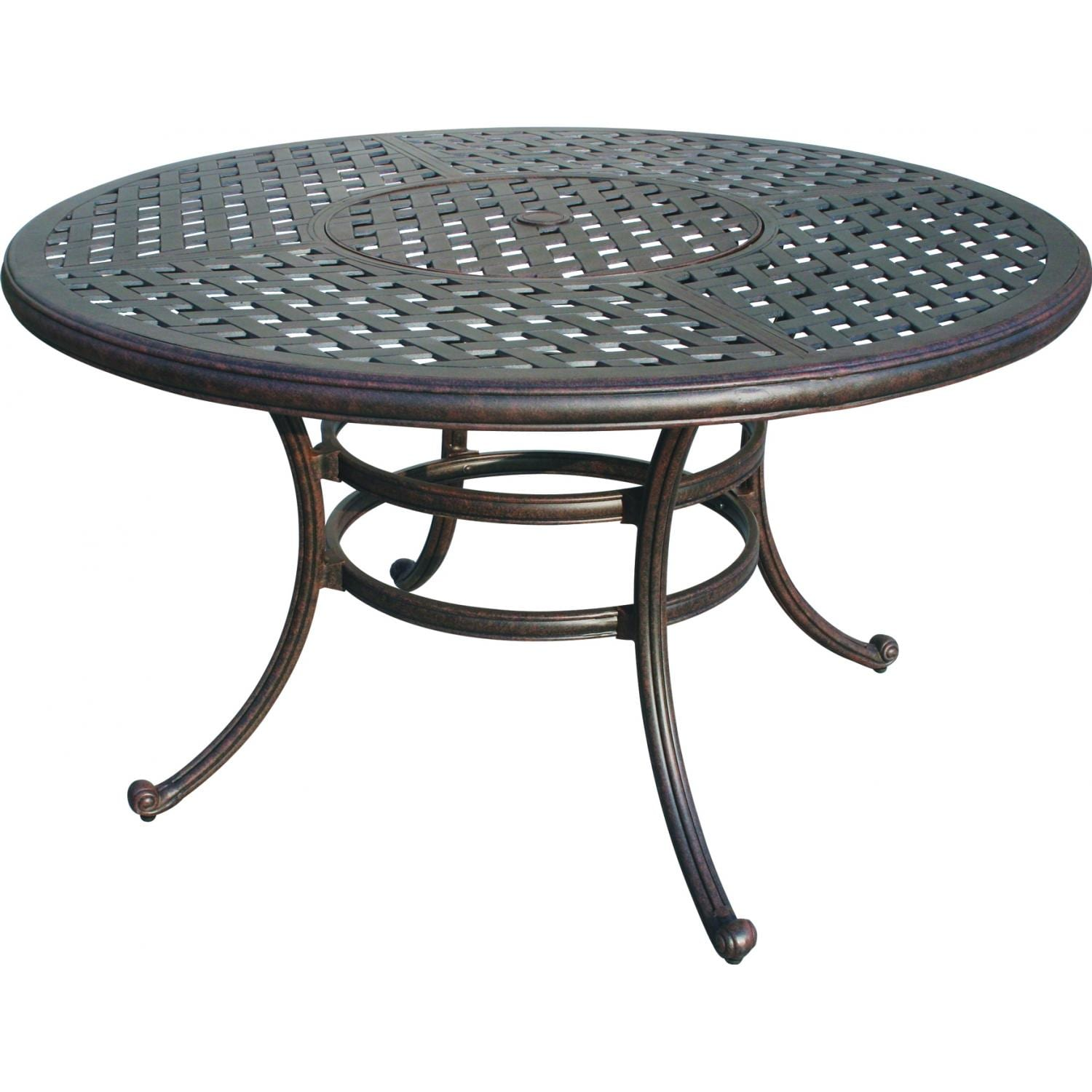 Darlee Series Inch Cast Aluminum Patio Dining Table - 52 inch round outdoor dining table