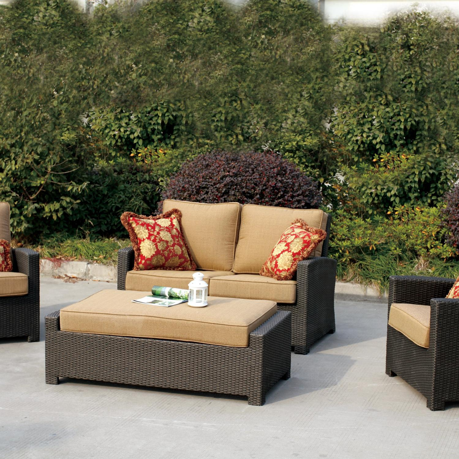 Darlee Vienna 4 Piece Resin Wicker Patio Seating Set