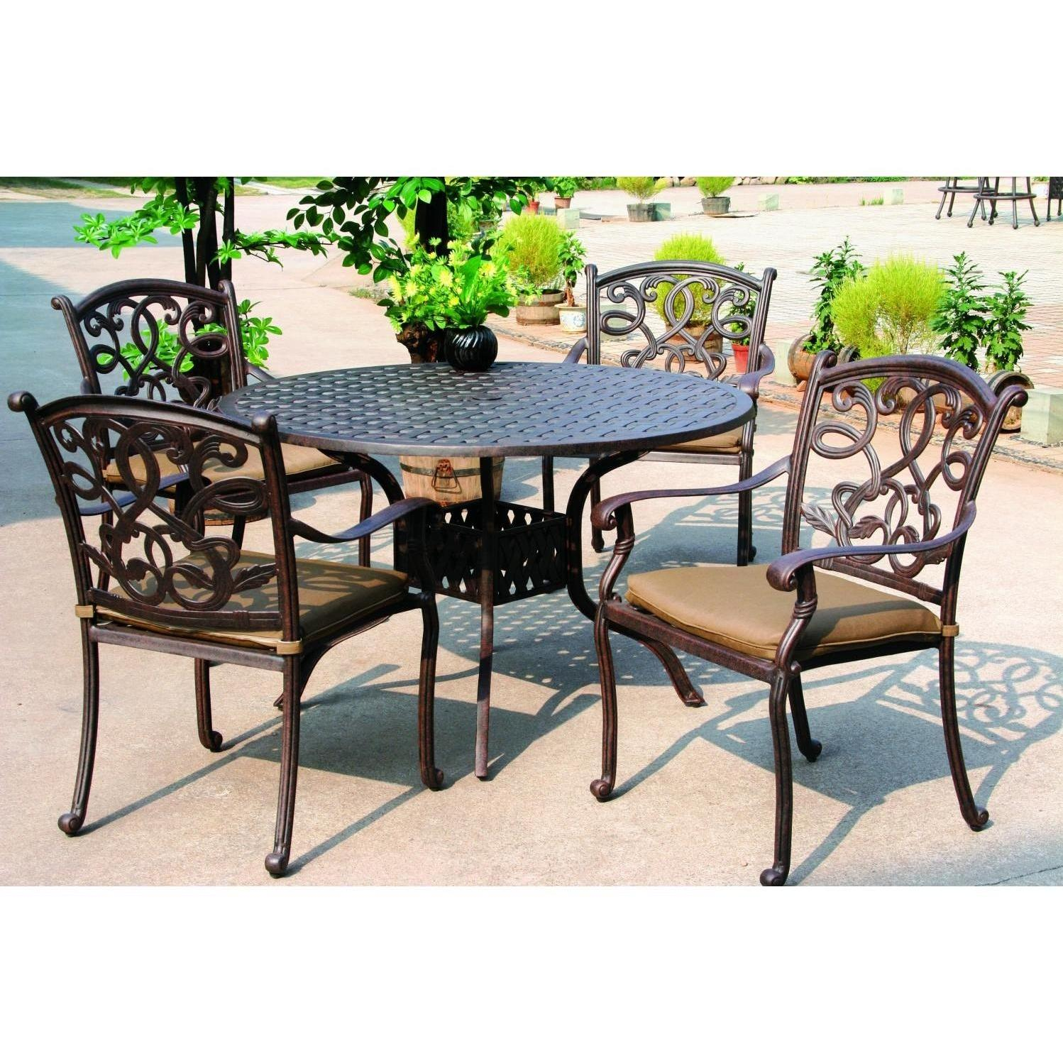 Darlee santa monica 5 piece cast aluminum patio dining set for Outdoor furniture brands
