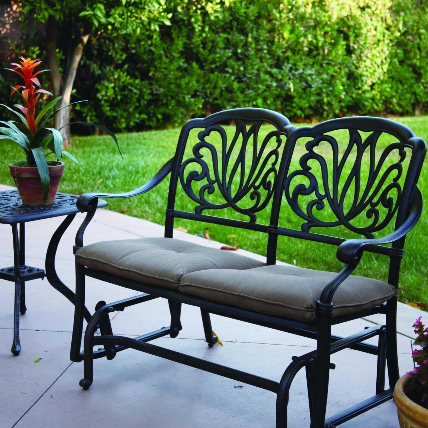 Darlee Elisabeth 2 Piece Aluminum Patio Bench Glider Set