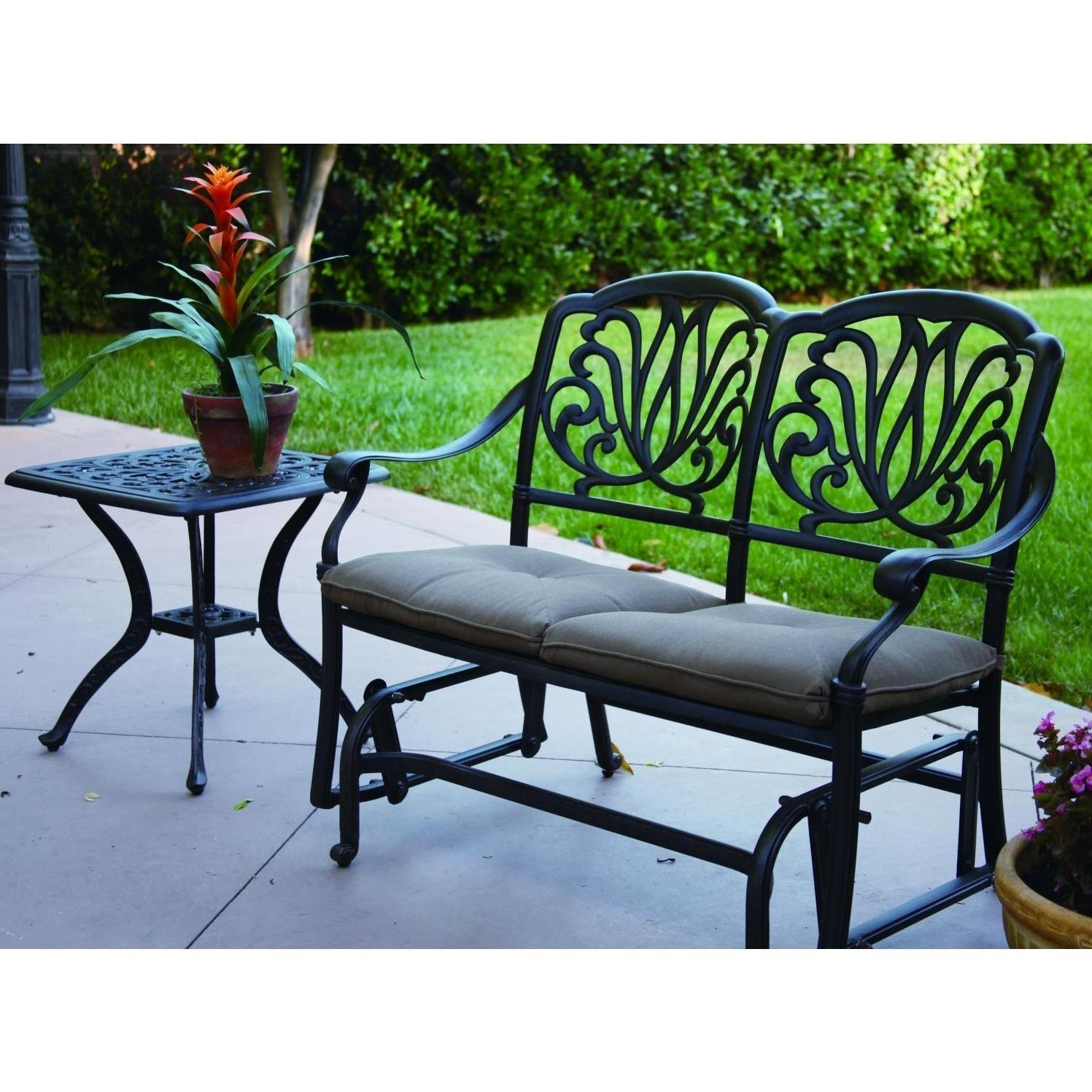 Darlee Elisabeth 2 Piece Cast Aluminum Patio Bench Glider Conversation  Seating Set