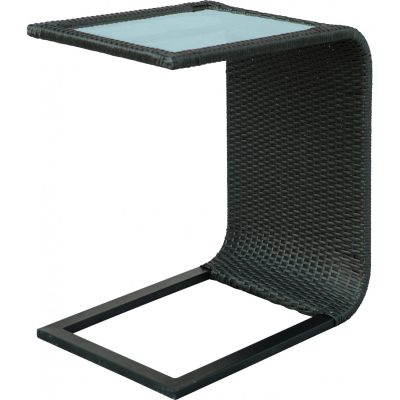 Darlee Vienna Resin Wicker Patio Slider Table With Glass Top - Espresso