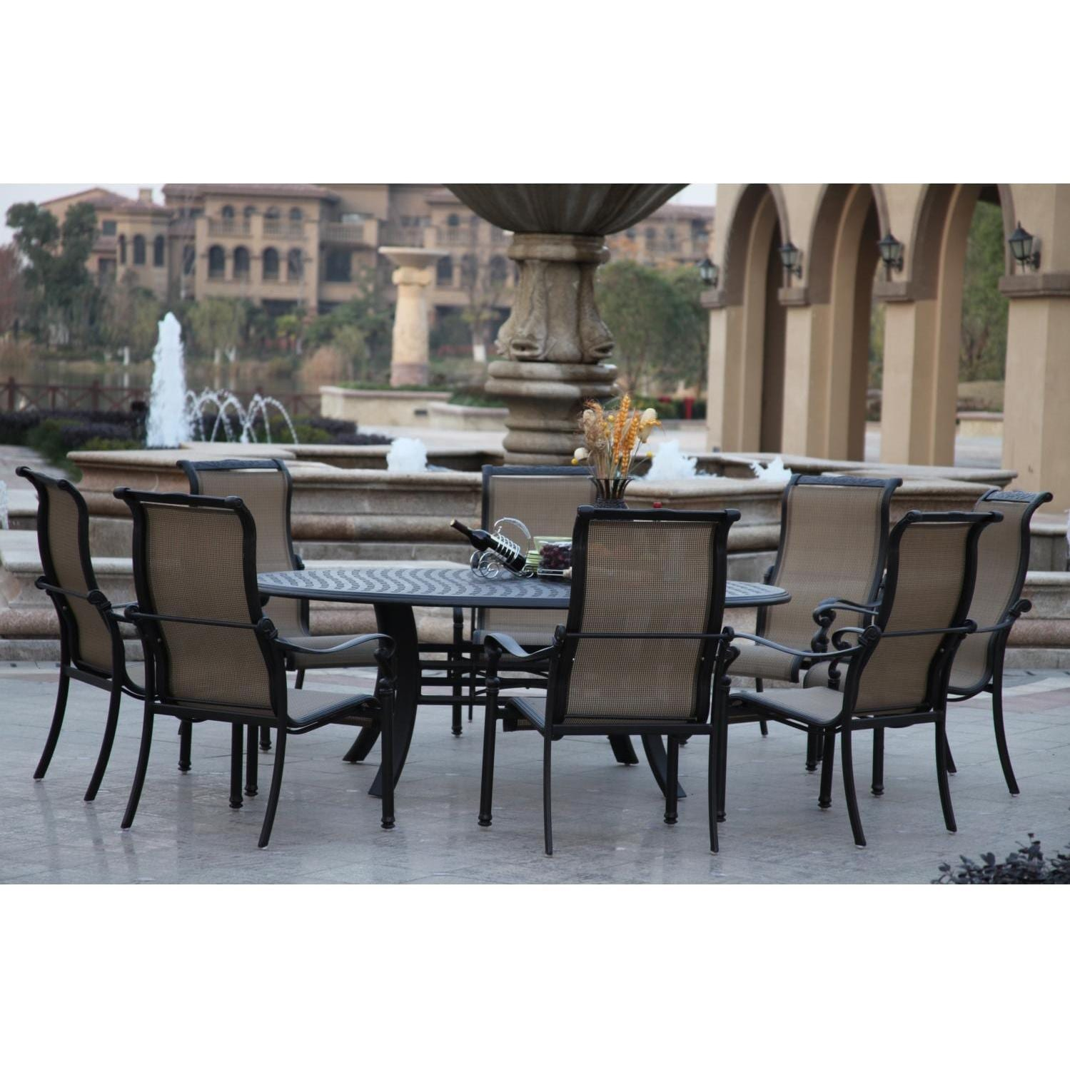 Darlee Monterey 9 Piece Sling Patio Dining Set