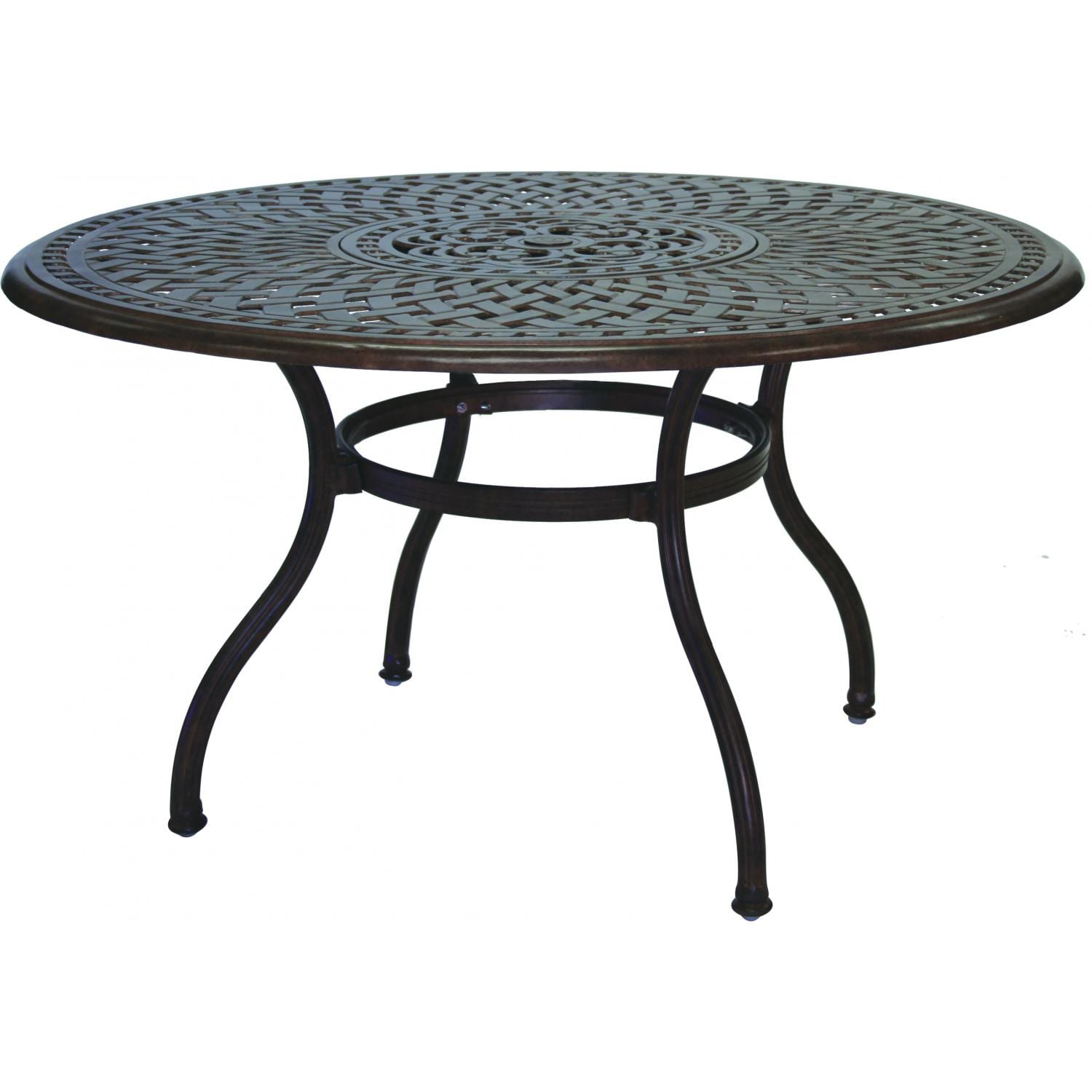 Darlee Series Cast Aluminum Patio Dining Table With Ice Bucket - 52 inch round outdoor dining table