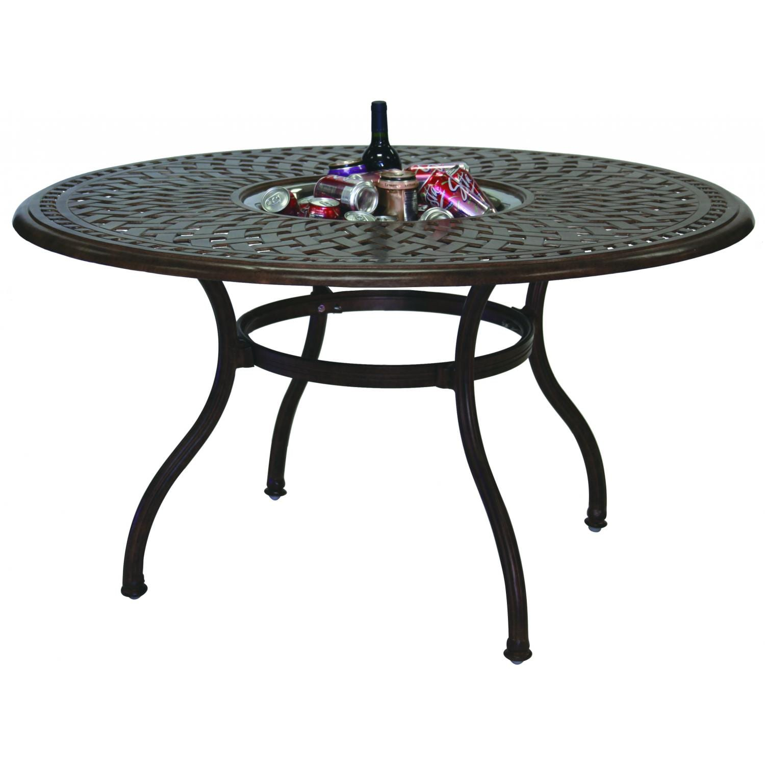 Darlee Series 60 Patio Dining Table With Ice Bucket Insert - Open