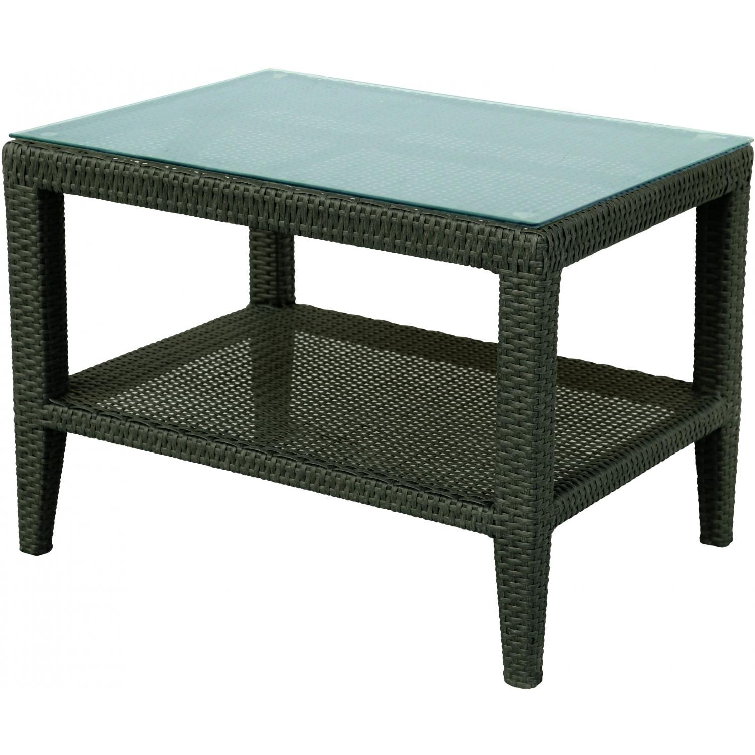 Darlee Vienna Resin Wicker Patio Side Table With Glass Top - Espresso