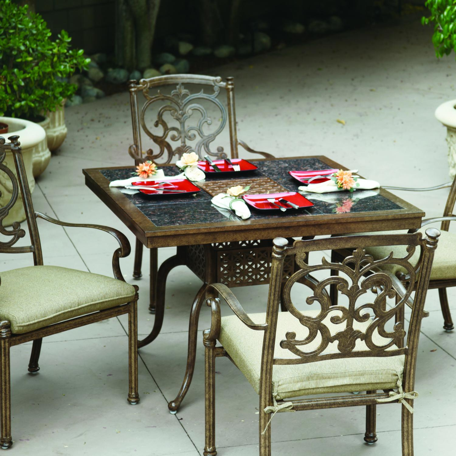 Darlee Santa Barbara 5 Piece Granite Top Patio Dining Set