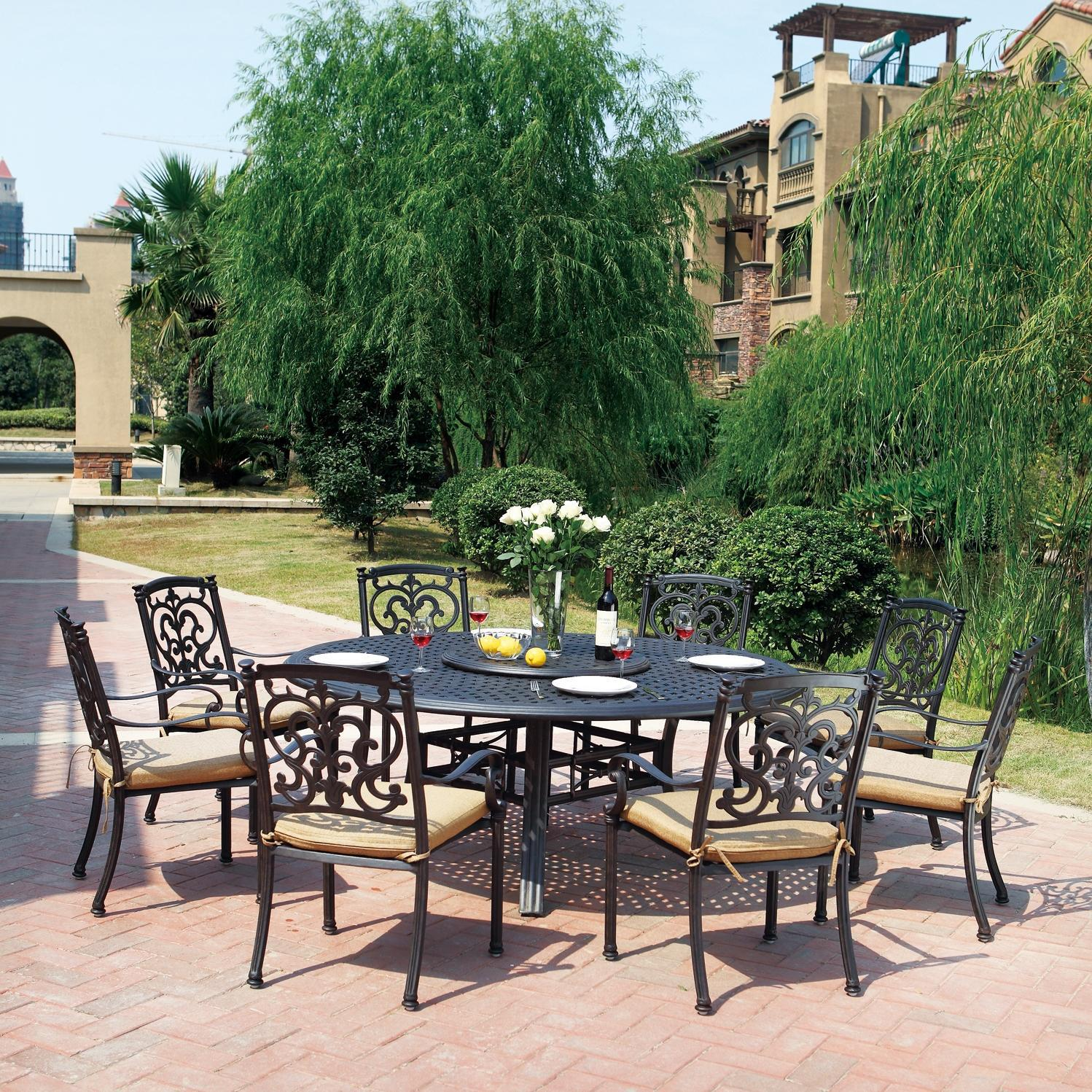 Darlee Santa Barbara 9 Piece Lazy Susan Patio Dining Set