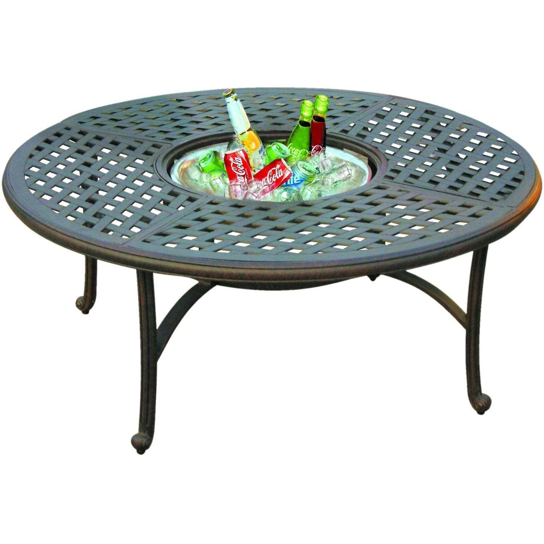 Darlee Series Patio Tea Table With Ice Bucket Insert - Open
