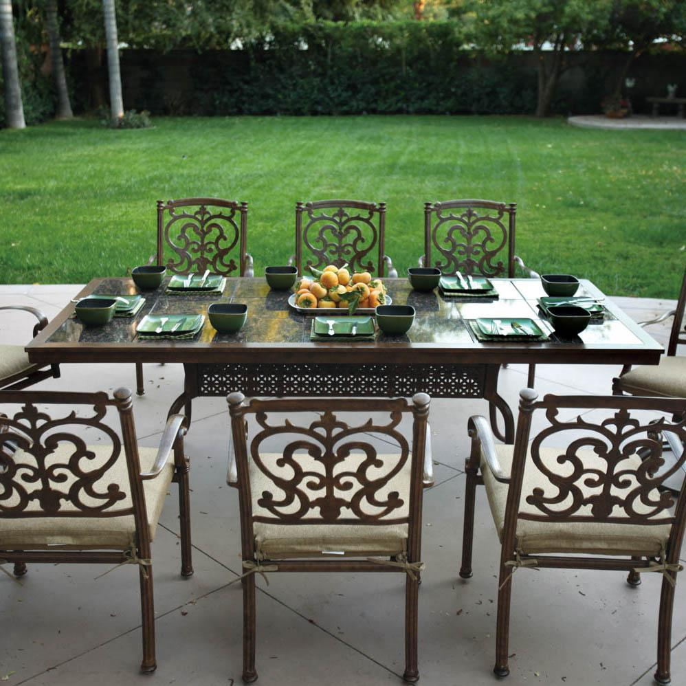 Darlee Santa Barbara 9 Piece Granite Top Patio Dining Set