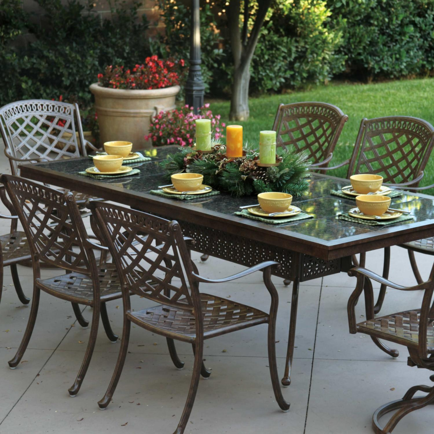 Darlee Sedona 9 Piece Granite Top Patio Dining Set