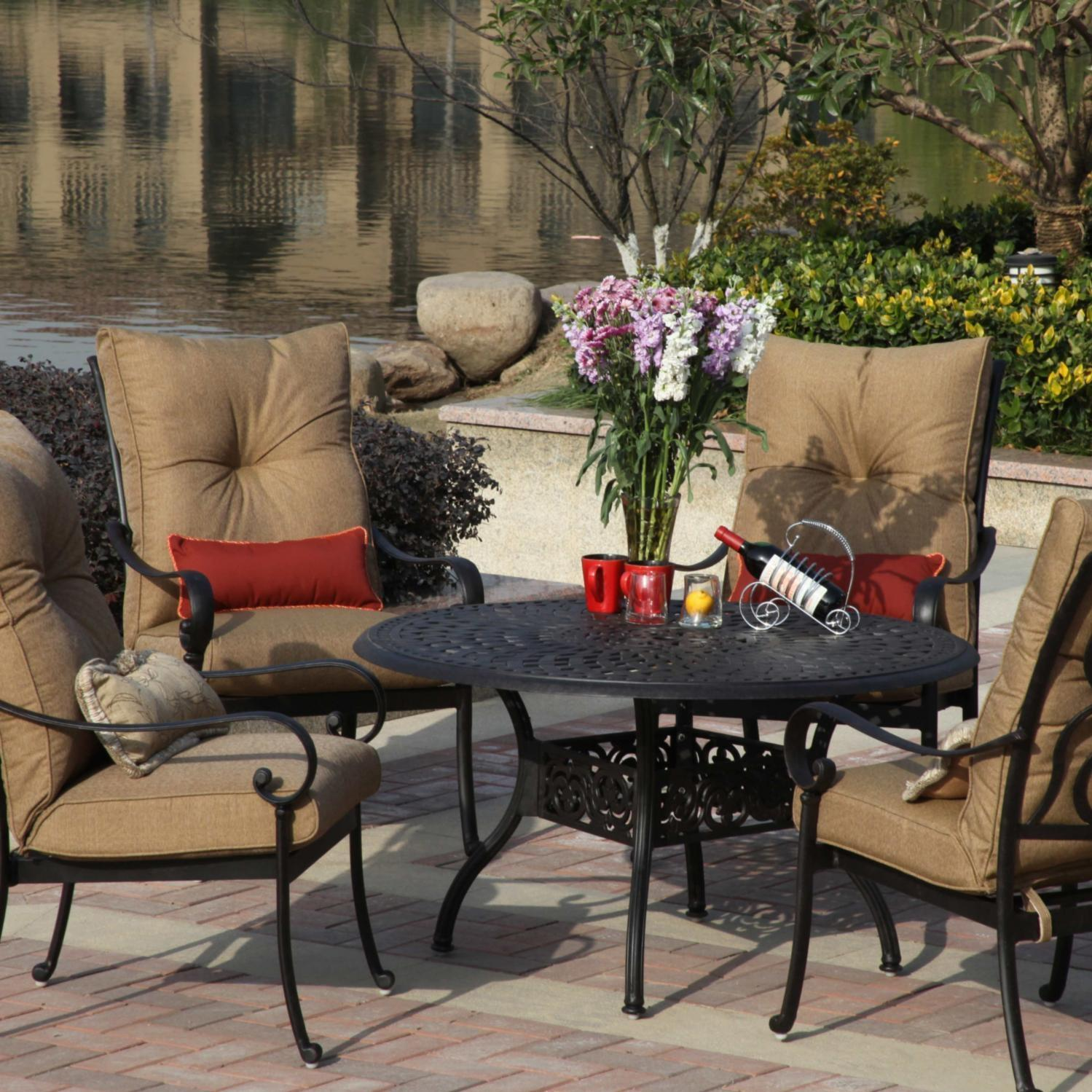 Darlee Santa Anita 5 Piece Cast Aluminum Patio Dining Set