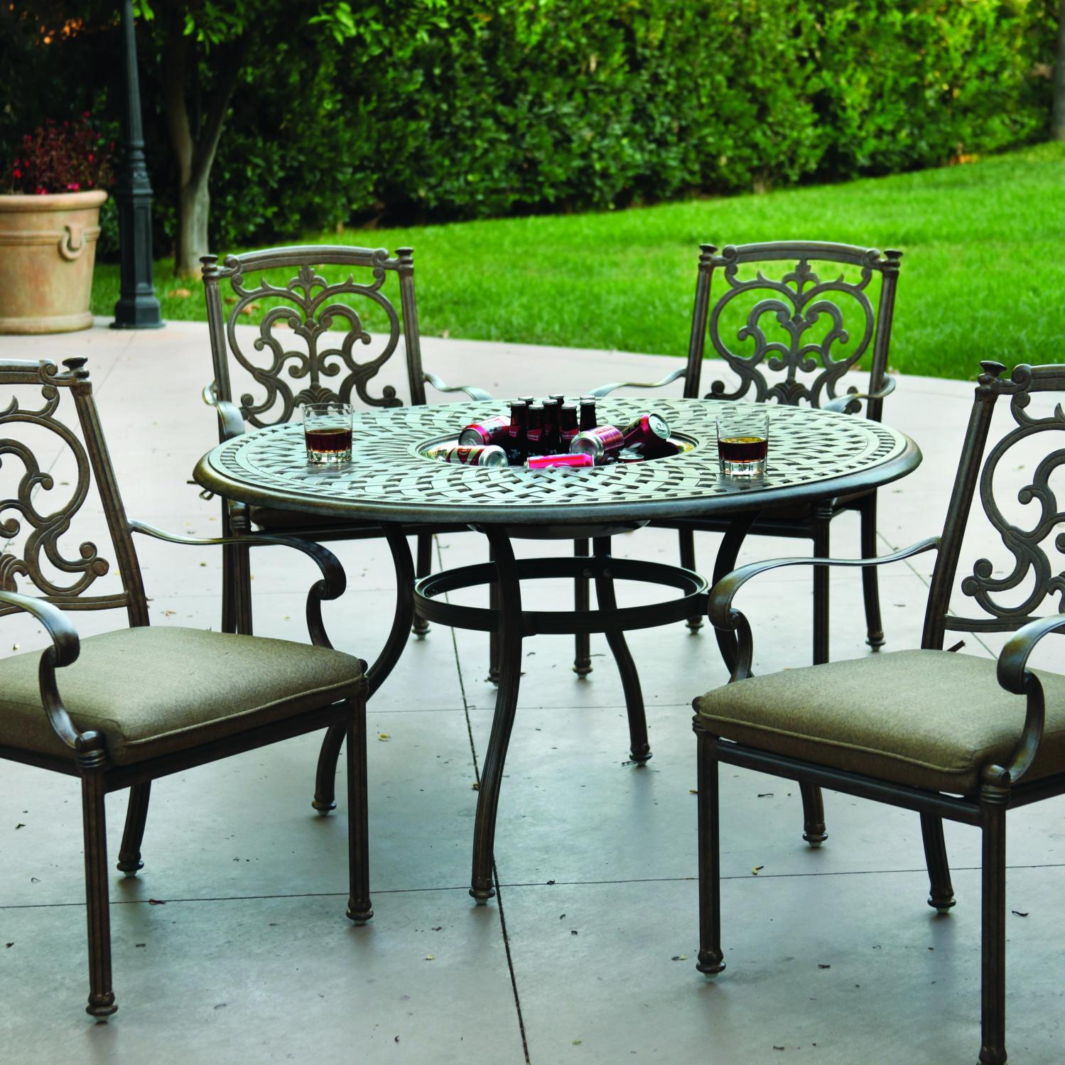 Darlee Santa Barbara 5 Piece Ice Bucket Patio Dining Set