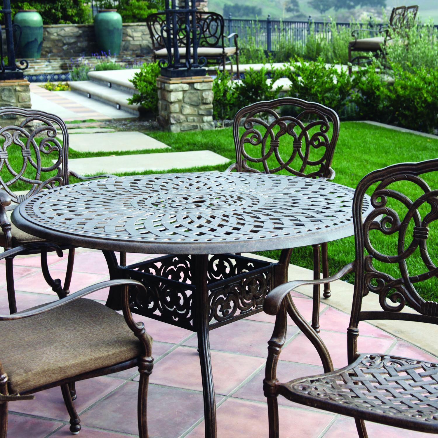 Darlee Florence 5 Piece Cast Aluminum Patio Dining Set - Antique Bronze