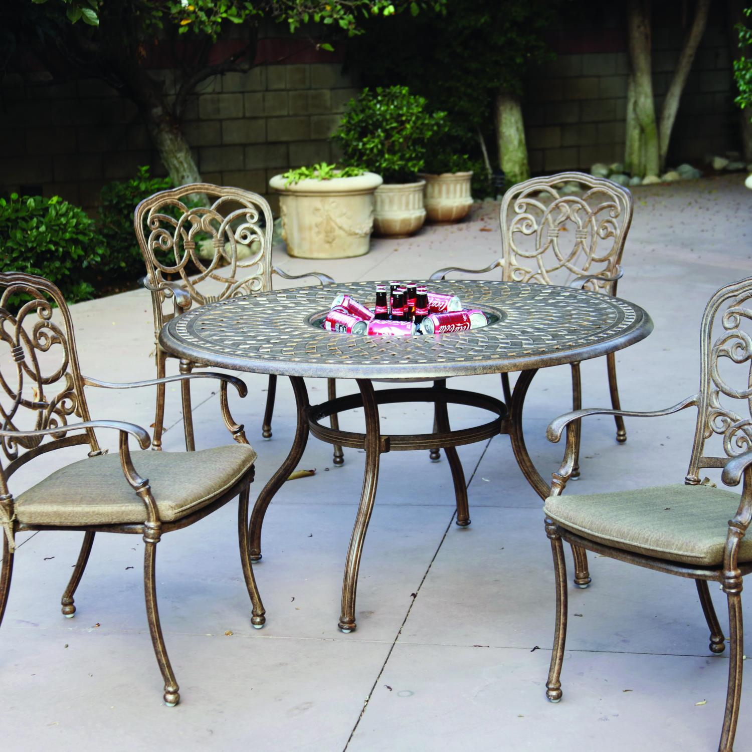 Darlee Florence 5 Piece Cast Aluminum Patio Dining Set Mocha