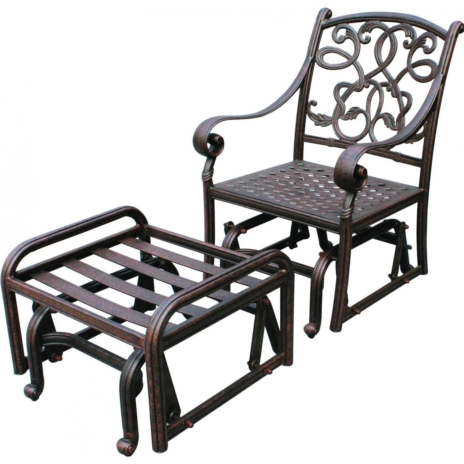Darlee Santa Monica Cast Aluminum Patio Glider Club Chair With Ottoman