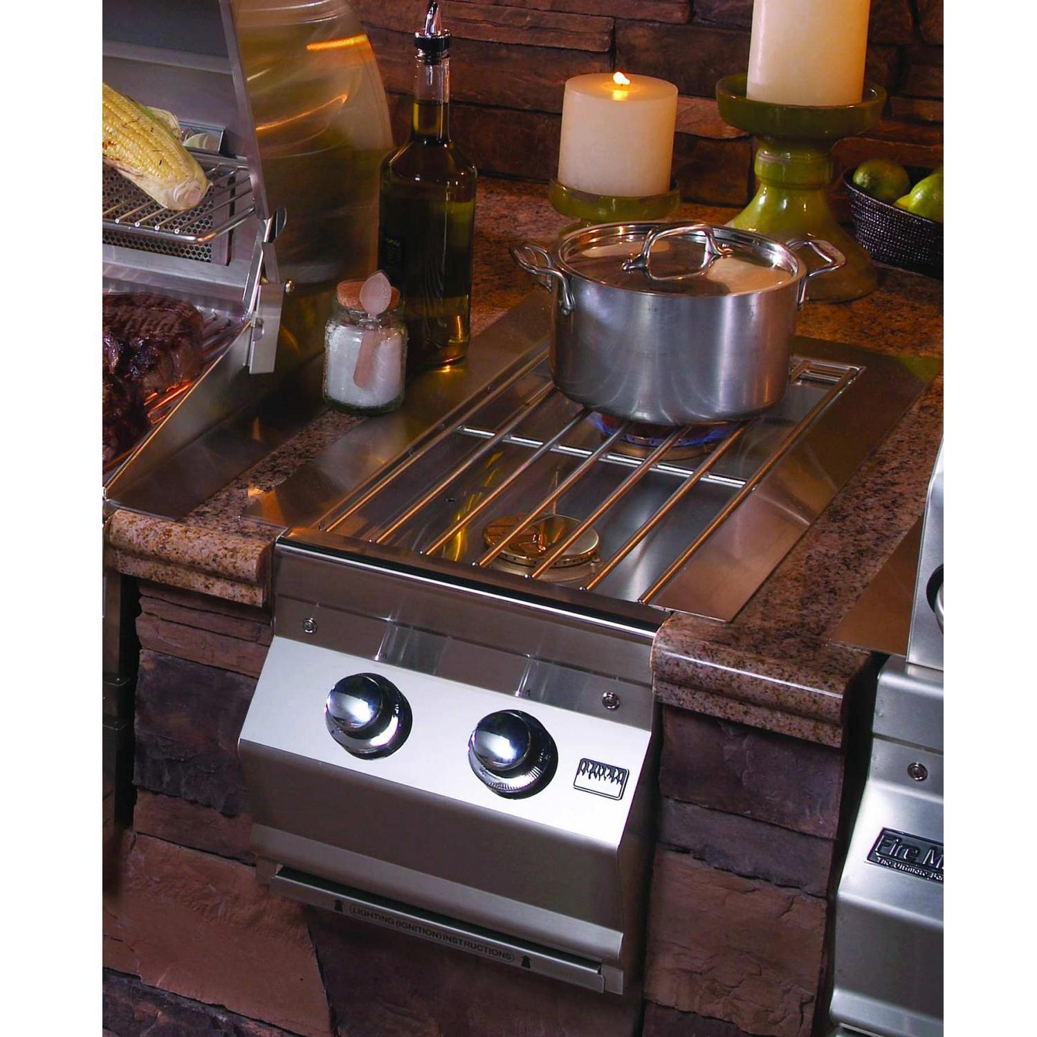 Fire Magic Aurora Built-In Propane Gas Double Side Burner - Installed In An Outdoor Kitchen