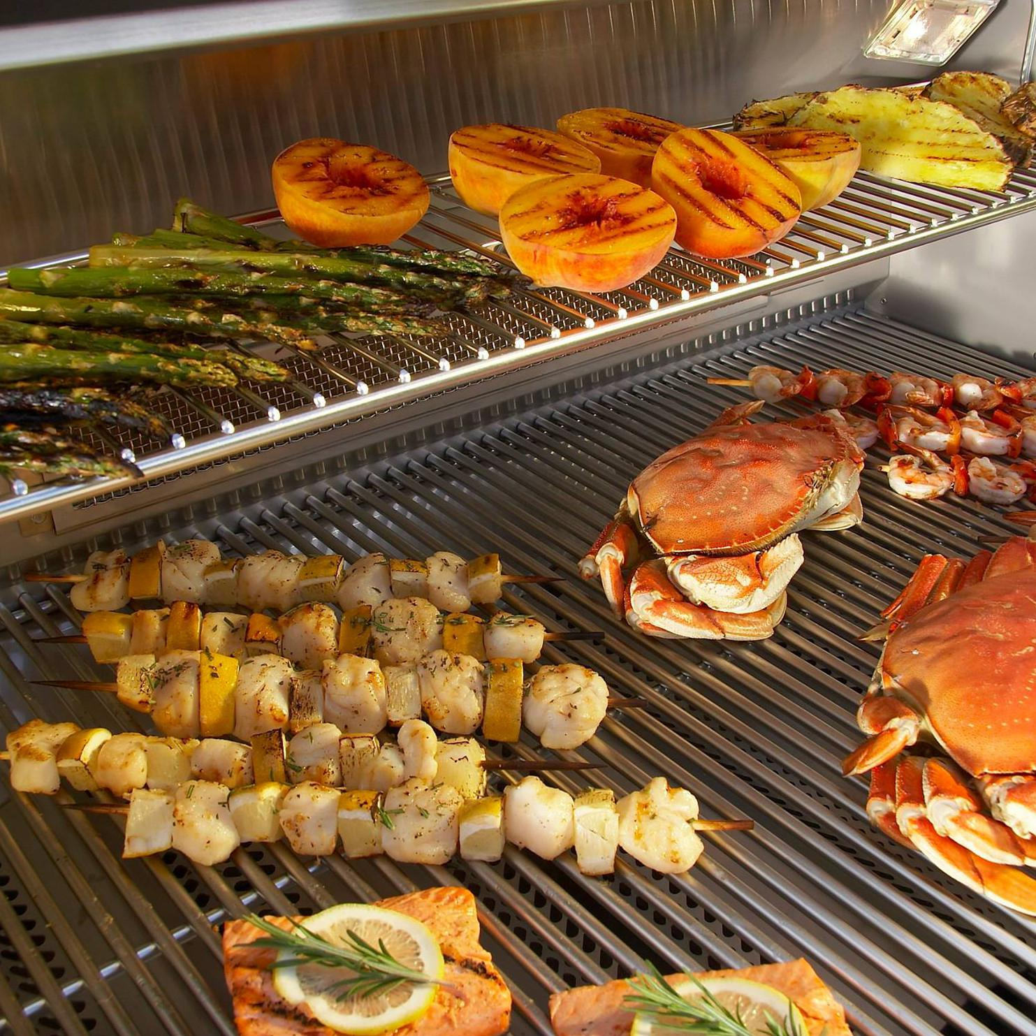 Fire Magic Echelon Diamond E660i Natural Gas Grill on Cart - Variety of Foods to Be Grilled