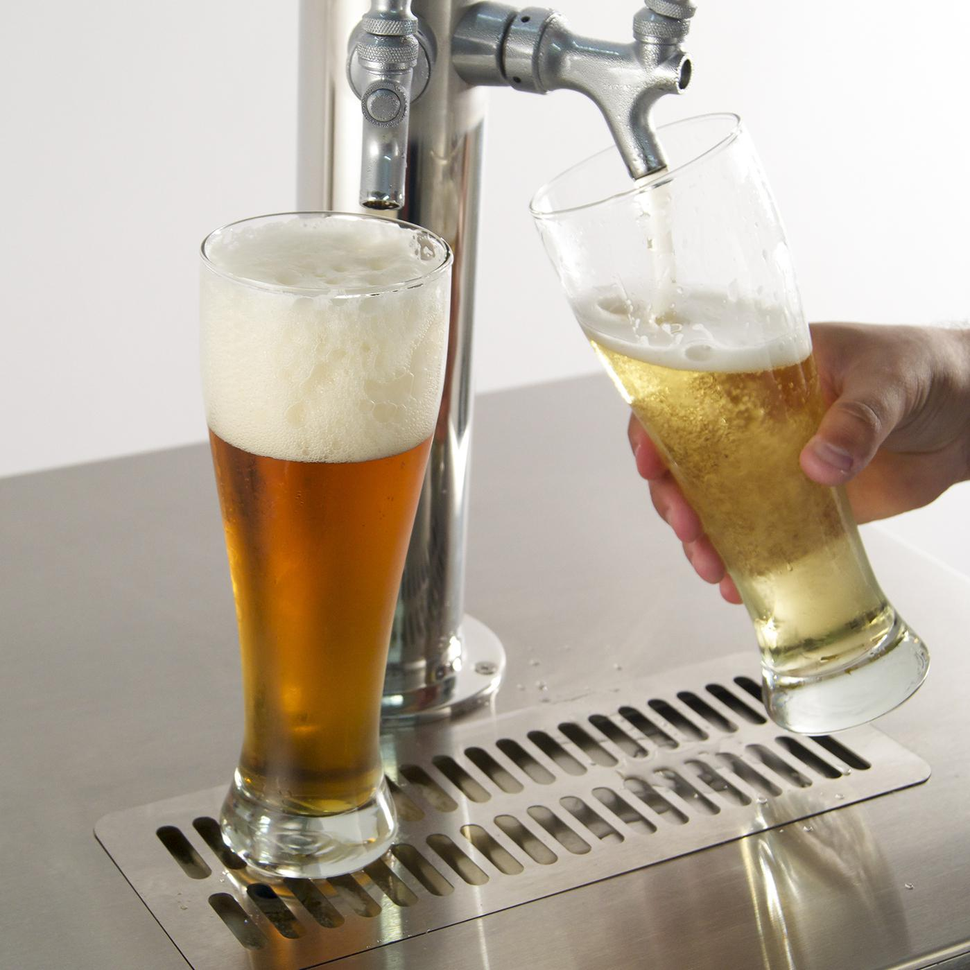 Fire Magic 24 Inch Left Hinged Outdoor Built-In Dual Tap Kegerator - Pouring