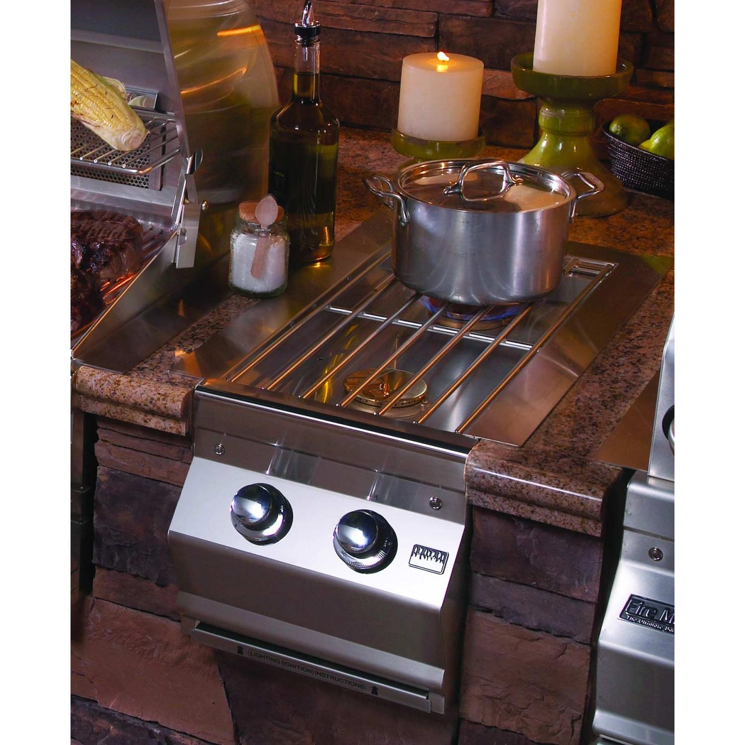 Fire Magic Built In Double Side Burner In Outdoor Kitchen