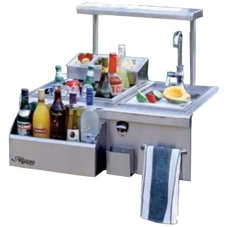 Alfresco 30-Inch Built-In Bartender With Sink - Shown With Optional Serving Shelf and Condiment Tray