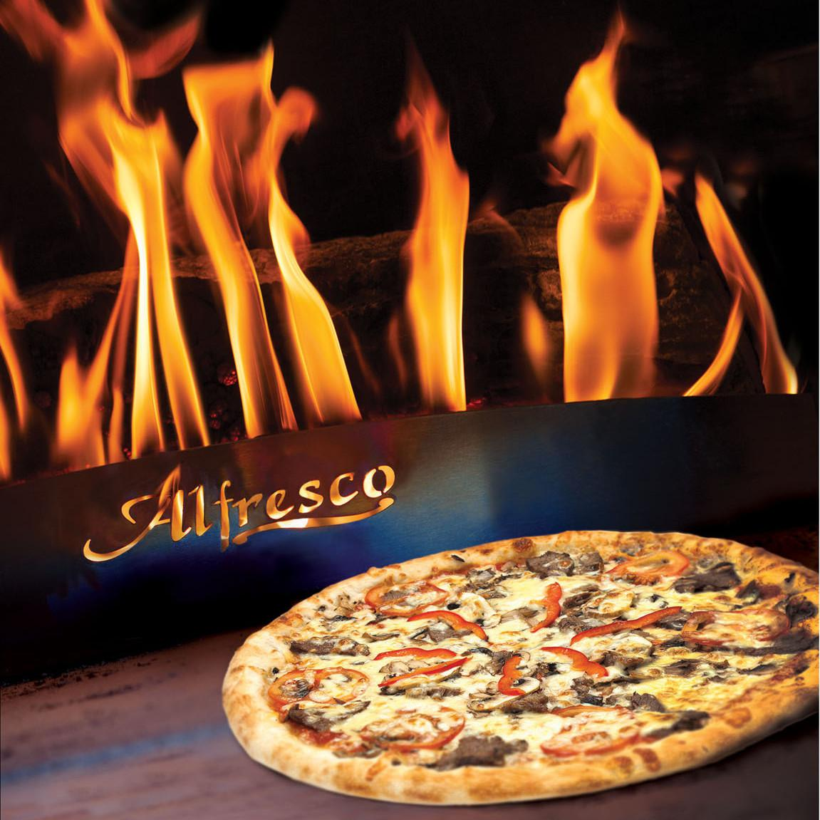 Alfresco 30-Inch Built-In Natural Gas Outdoor Pizza Oven - Lifestyle