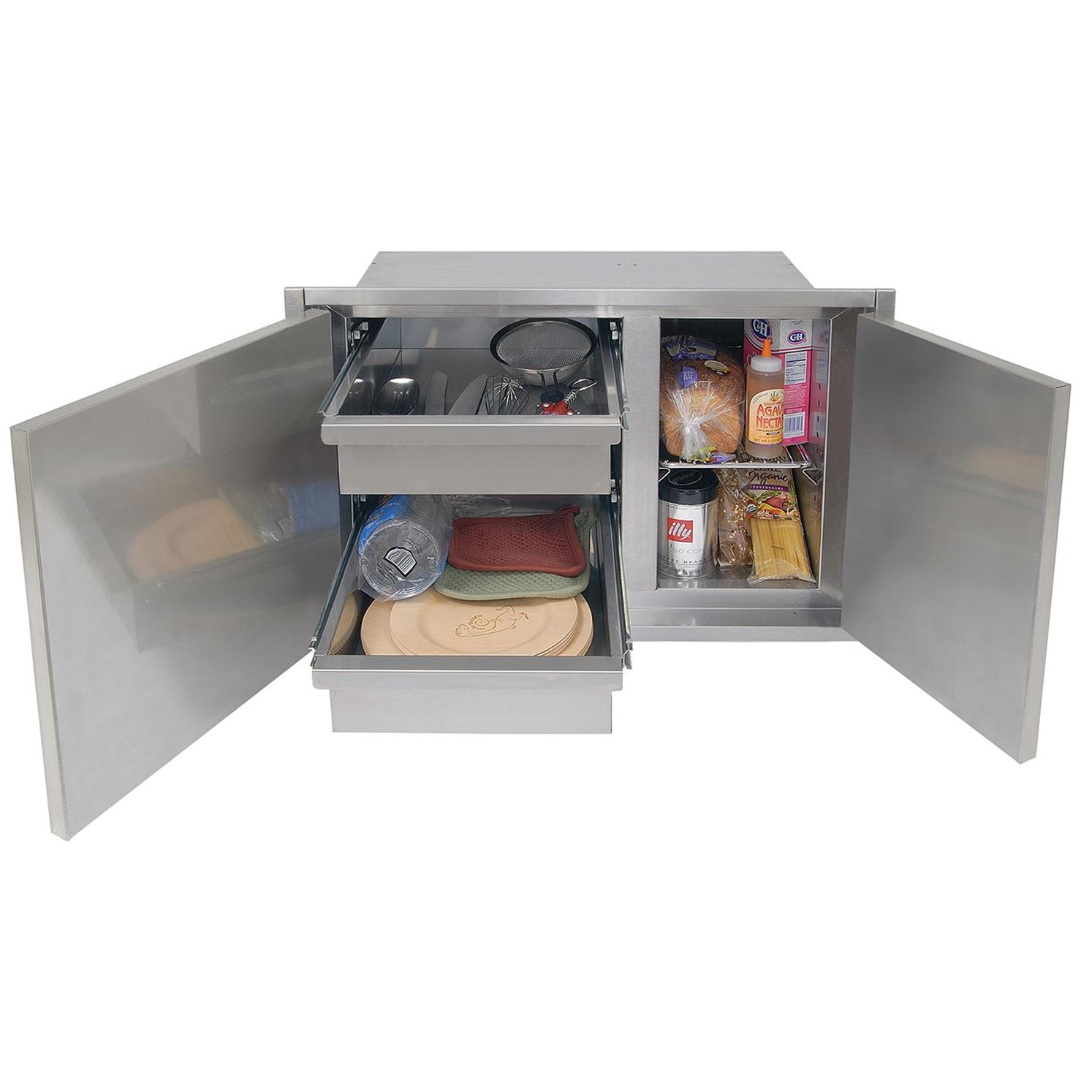 Alfresco 30-Inch Low Profile Sealed Dry Storage Pantry - Open Door